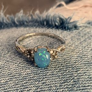 Opal silver tone ring